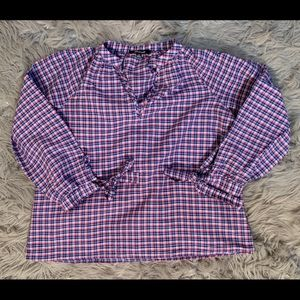 Madewell Checkered Plaid 'Popover' Blouse XS